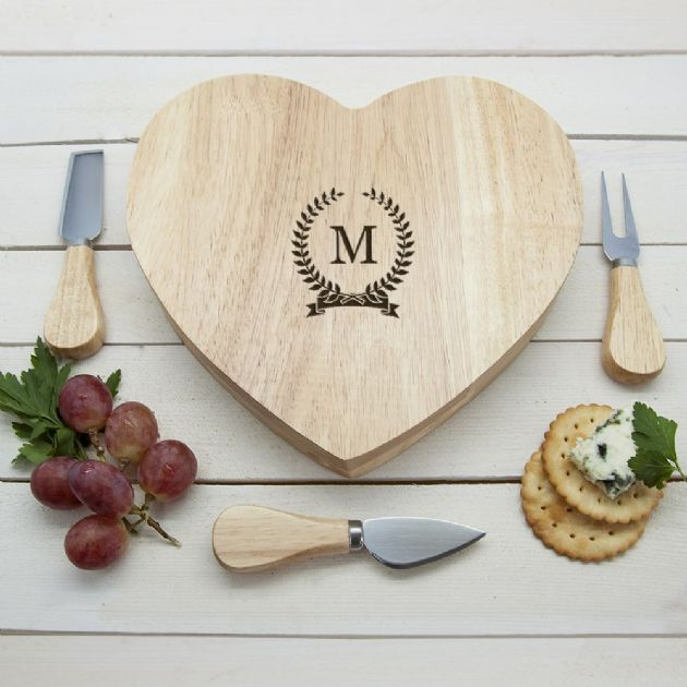 Monogrammed Romantic Wreath Heart Cheese Board